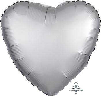 "18""A Heart Satin Luxe Platinum Silver (10 count)"