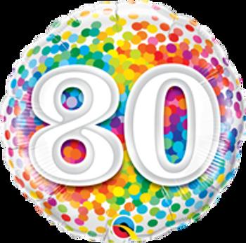 "18""Q Happy Birthday Rainbow Confetti 80(10 count)"