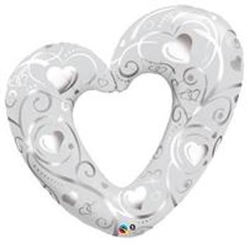 """42""""Q Hearts & Filigree Pearl White (5 count)"""