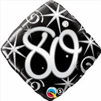 "18""Q Happy Birthday Elegant Sparkles & Swirls 80(5 count)"