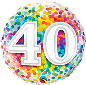"18""Q Happy Birthday Rainbow Confetti 40(10 count)"