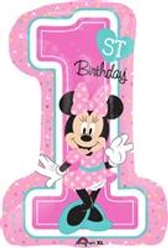 """28""""A Minnie Mouse, Happy Birthday 1st (5 count)"""