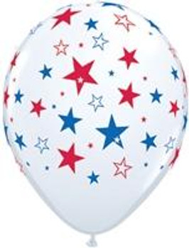 """11""""Q White with Blue and  Red Stars Print (50 count)"""