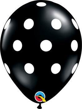 "11""Q Dots Big Black with White Print (50 count)"