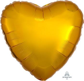 """18""""A Heart, Gold Metallic (10 count)"""