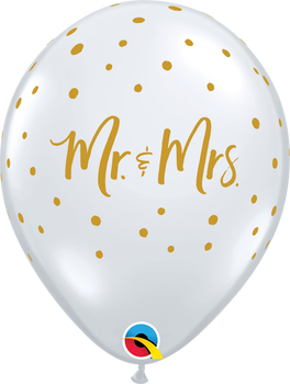 "11""Q Mr. & Mrs. Clear Dots Gold Print (50 count)"
