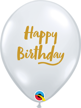 "11""Q Happy Birthday Script Clear with Gold Print (50 count)"