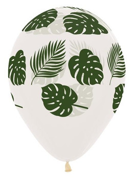 "11""B Clear with Palm Frond print (50 count)"