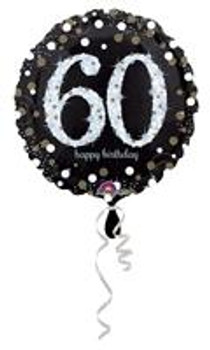 """18""""A Happy Birthday Sparkling 60th Holographic Pkg (5 count)"""
