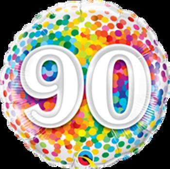 "18""Q Happy Birthday Rainbow Confetti 90(10 count)"