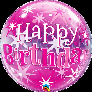 "22""Q Bubble Pink Starburst Happy Birthday (1 count)"
