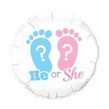 """18""""Q Foot Prints, He or She? Gender Reveal (5 count)"""