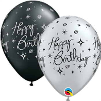 "11""Q Assorted Happy Birthday Sparkle Print (50 count)"