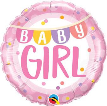 "18""Q Baby Girl, Banner & Dots (5 count)"