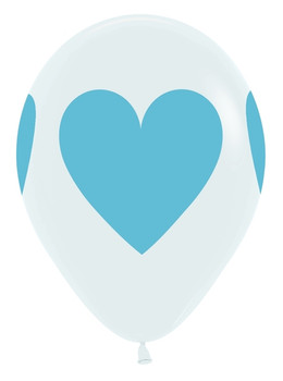 """11""""B White with Baby Blue Heart Print (50 count)"""