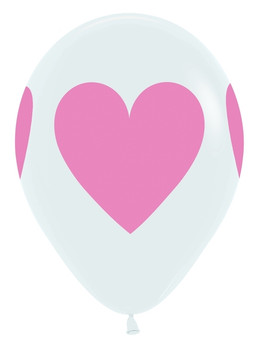 """11""""B White with Baby Pink Heart Print (50 count)"""