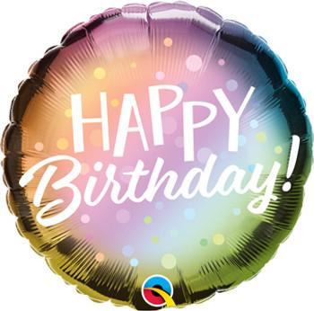 """18""""Q Happy Birthday Ombre Metallic & Dots (5 count)"""