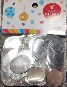 """Confetti Circles , Mylar Silver 1""""(1 count)"""