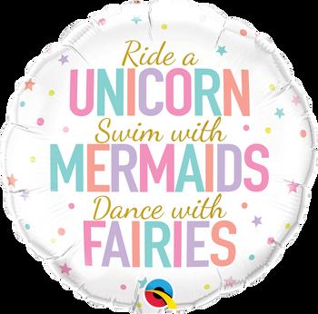 """18""""Q  Unicorns/ Mermaids/ Faires (5 count)"""