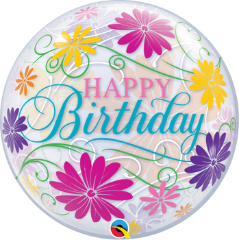 "22""Q Happy Birthday Flowers & Filigree(1 count)"