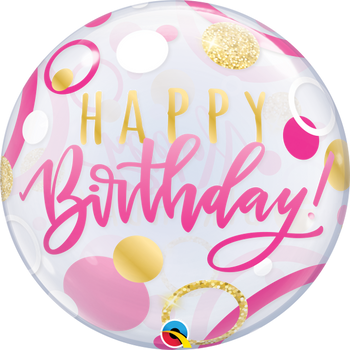 "22""Q Bubble Happy Birthday Pink & Gold Dots(1 count)"