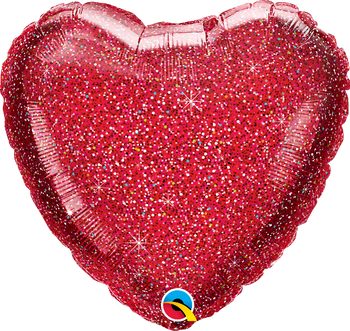"18""Q Heart Glittergraphic Red(10 count)"