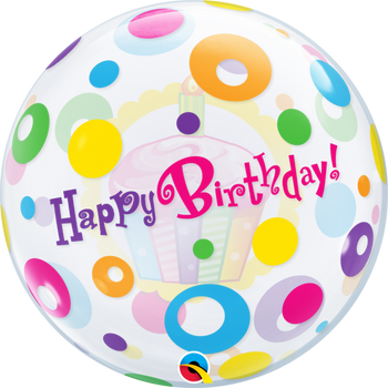 "22""Q Bubble Happy Birthday Cupcake & Dots (1 count)"