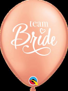 """11""""Q Team Bride Rose Gold  White print(50 count)"""