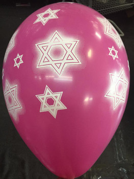 "30""G Star of David, Hot Pink with White print(2 count)"