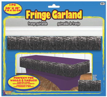 "Fringe Garland 20' x 15"" Black(1 count)"