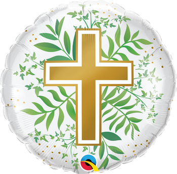 "18""Q Religious Cross,Golden & greenery(5 count)"