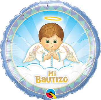 "18""Q Mi Bautizo Angel Boy(10 count)"