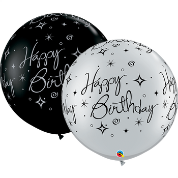 "30""Q Happy Birthday Sparkles and Swirls Black and Silver (2 count)"