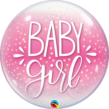 "22""Q Bubble Baby Girl Pink & Confetti (1 count)"