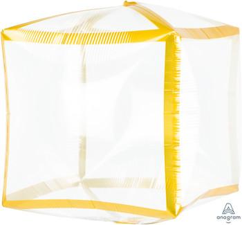 """15""""A Cubez Clear Gold Trim (3 count)"""