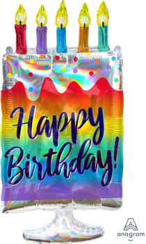 "30""A Happy Birthday Iridescent Cake (1 count)"
