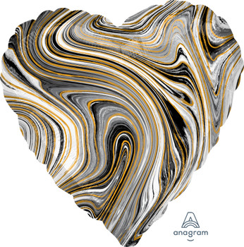 "18""A Marblez Heart Black (10 count)"
