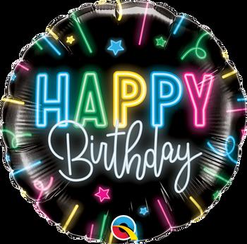 """18""""Q Happy Birthday Neon Glow (5 count)"""