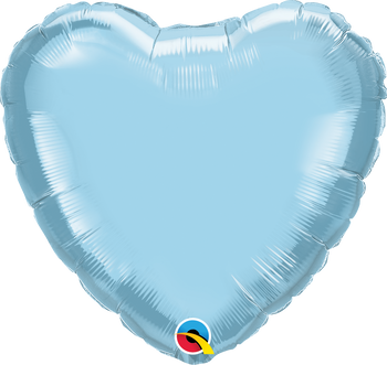 """4""""Q Heart Pearl Light Blue (10 count)"""