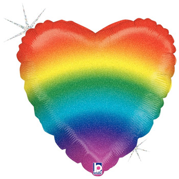 """18""""B Heart Rainbow Stripes Holographic (5 count)"""