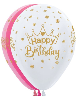 "11""B Happy Birthday  Assorted with Crown Print (50 count)"