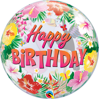 "22""Q Bubble, Happy Birthday Tropical Party (1 count)"