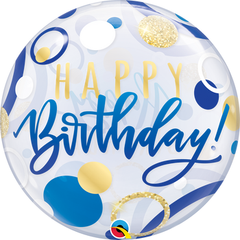 "22""Q Bubble Happy Birthday Blue & Gold Dots(1 count)"
