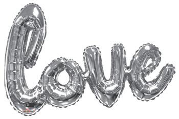 """36""""K Script LOVE Silver (1 count)"""