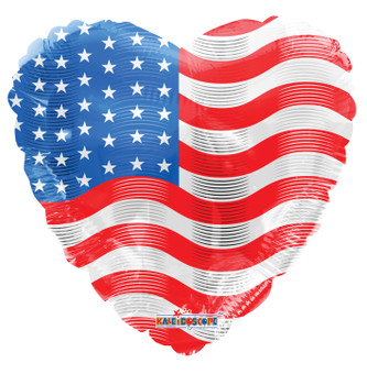 "18""K USA Flag On Heart (10 count)"