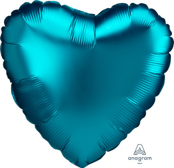 "18""A Heart Satin Luxe Aqua (10 count)"