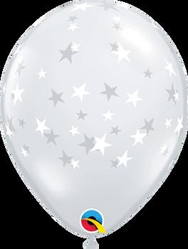 """11""""Q Diamond Clear w. white print Stars Contempo (50 count)"""