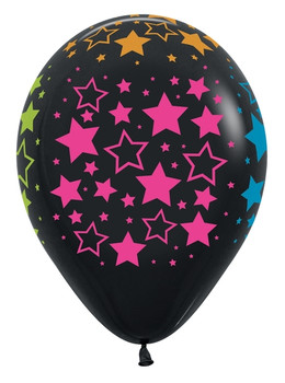 "11""B Black with Assorted Neon Stars (50 count)"