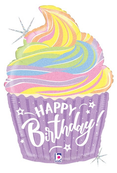 "27""B Happy Birthday Cupcake, Pastel Holograph (5 count)"