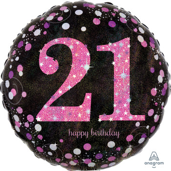 "18""A Happy Birthday Pink Celebration Holographic 21st (5 count)"